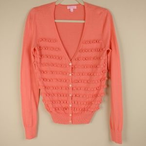 Lilly Pulitzer Cardigan Ruffles Cotton Coral Sz S